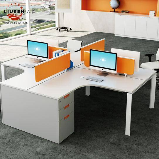 Manufacture Office Workstation Elegant Friendly office partition for 4 People with Aluminium Frame W
