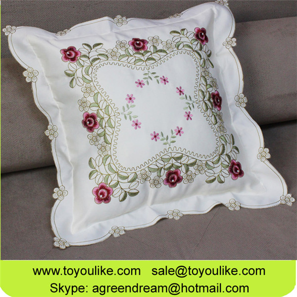 Beige White Embroidered Throw Decorative Cushion Cover for Car