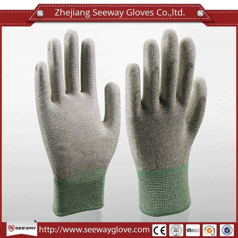 SeeWay 906 Customized Electronics Industry Working Glove with pu coated on palm