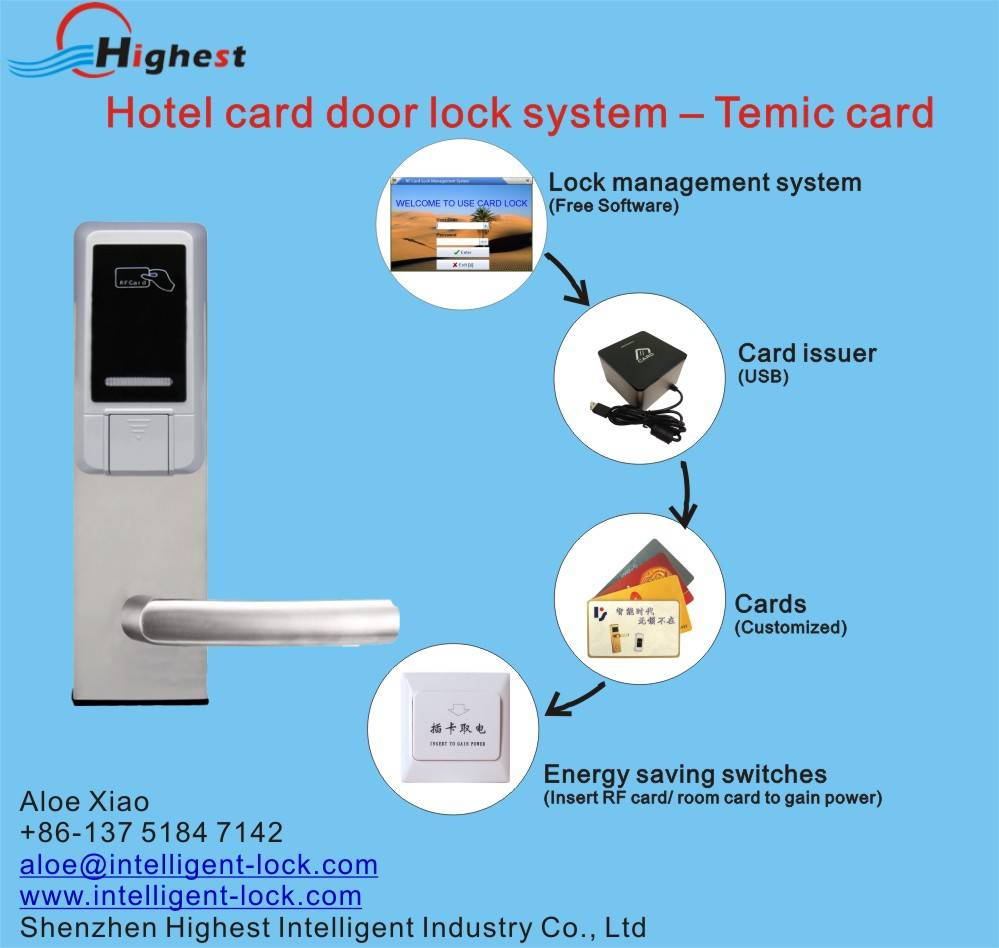 RX118E-Y-S5 Hotel card door lock with free software