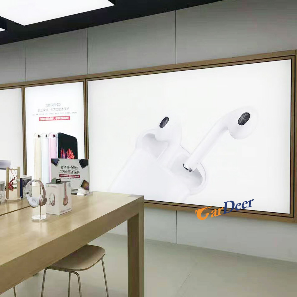 High quality ash tree lamphouse wood LED display cabinet for apple store experience