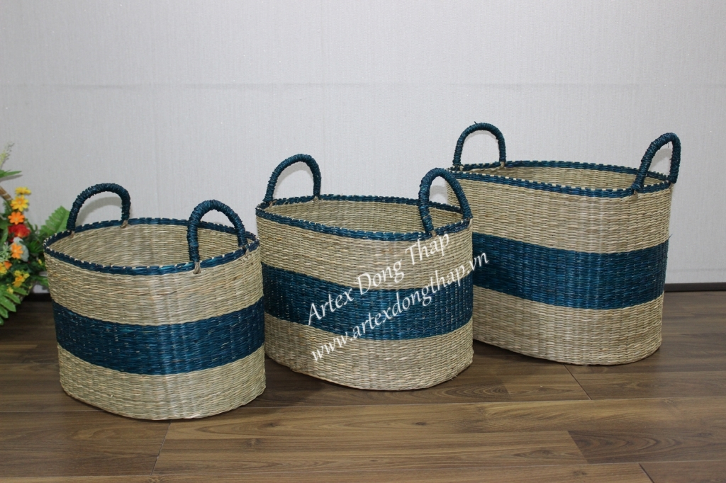 Wholesale customized household handmade seagrass storage baskets SD6709A-3MC