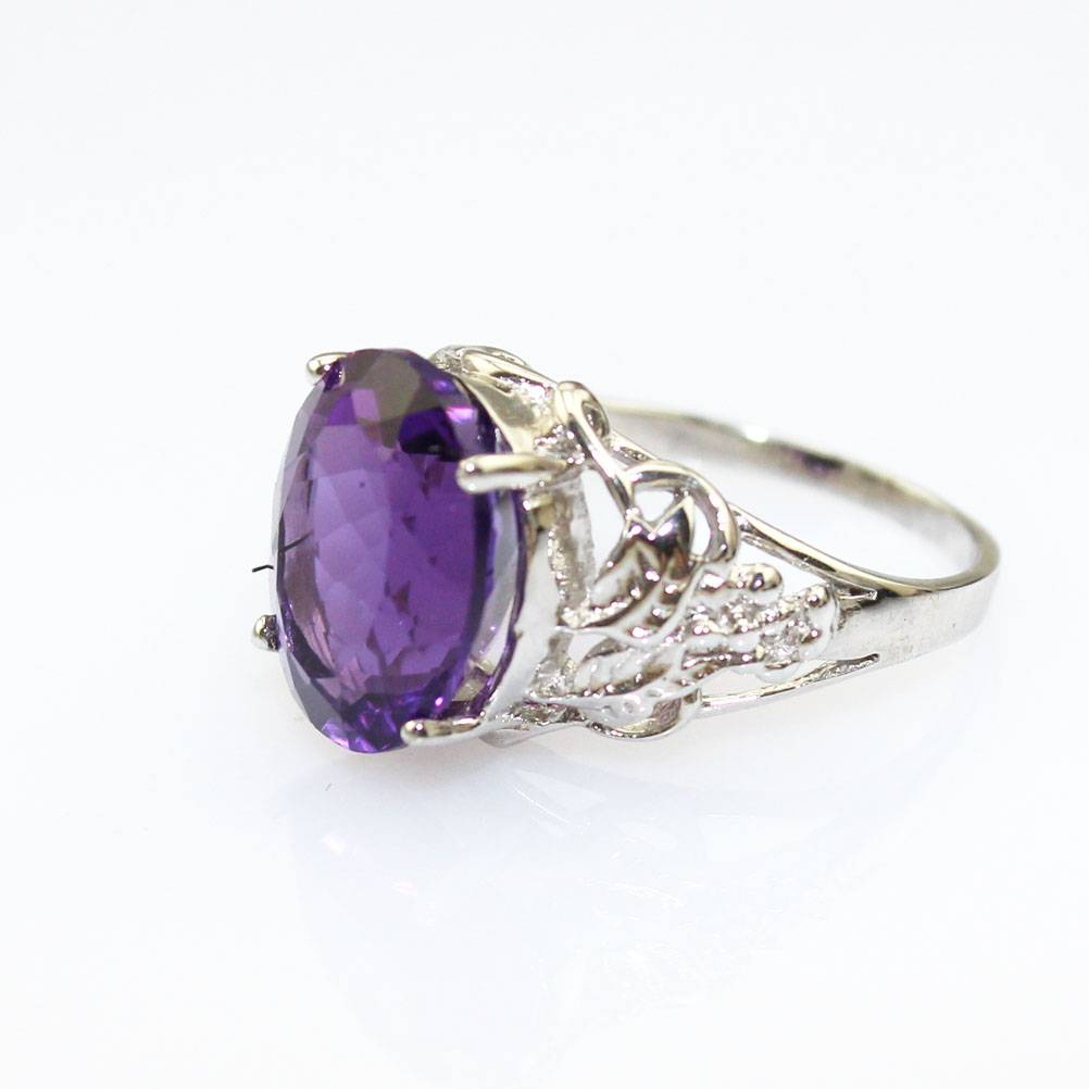 925 Silver Amethyst and Clear Cubic Zircon Ring Silver Ring