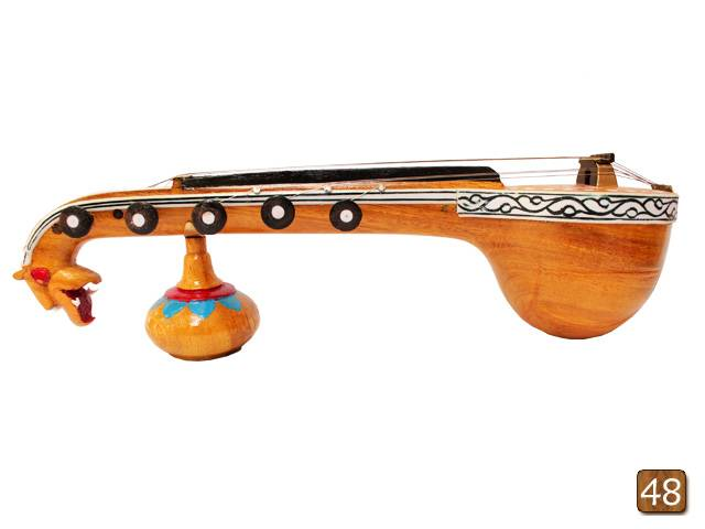 Wooden engraved musical miniatures-Wooden carved miniature Veena