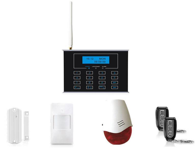 Dual network GSM+PSTN alarm system with touch keypad