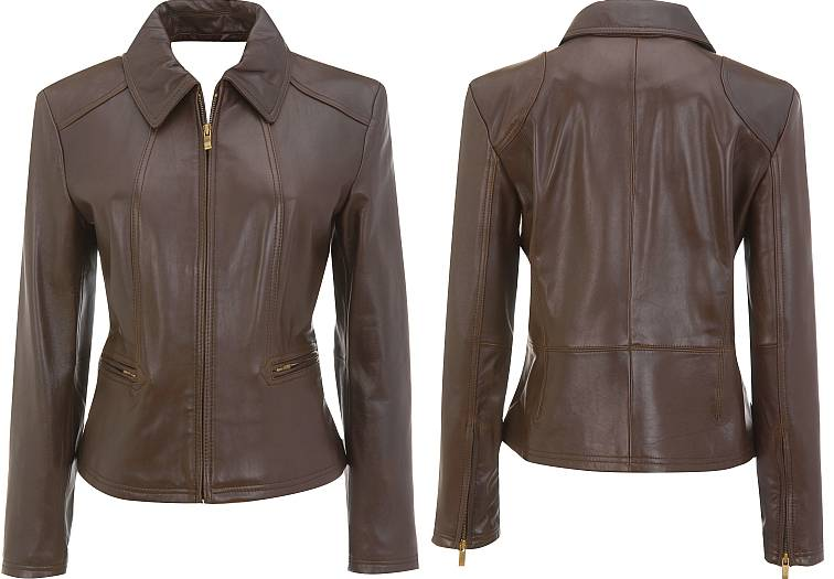 Simple style leather jacket for women