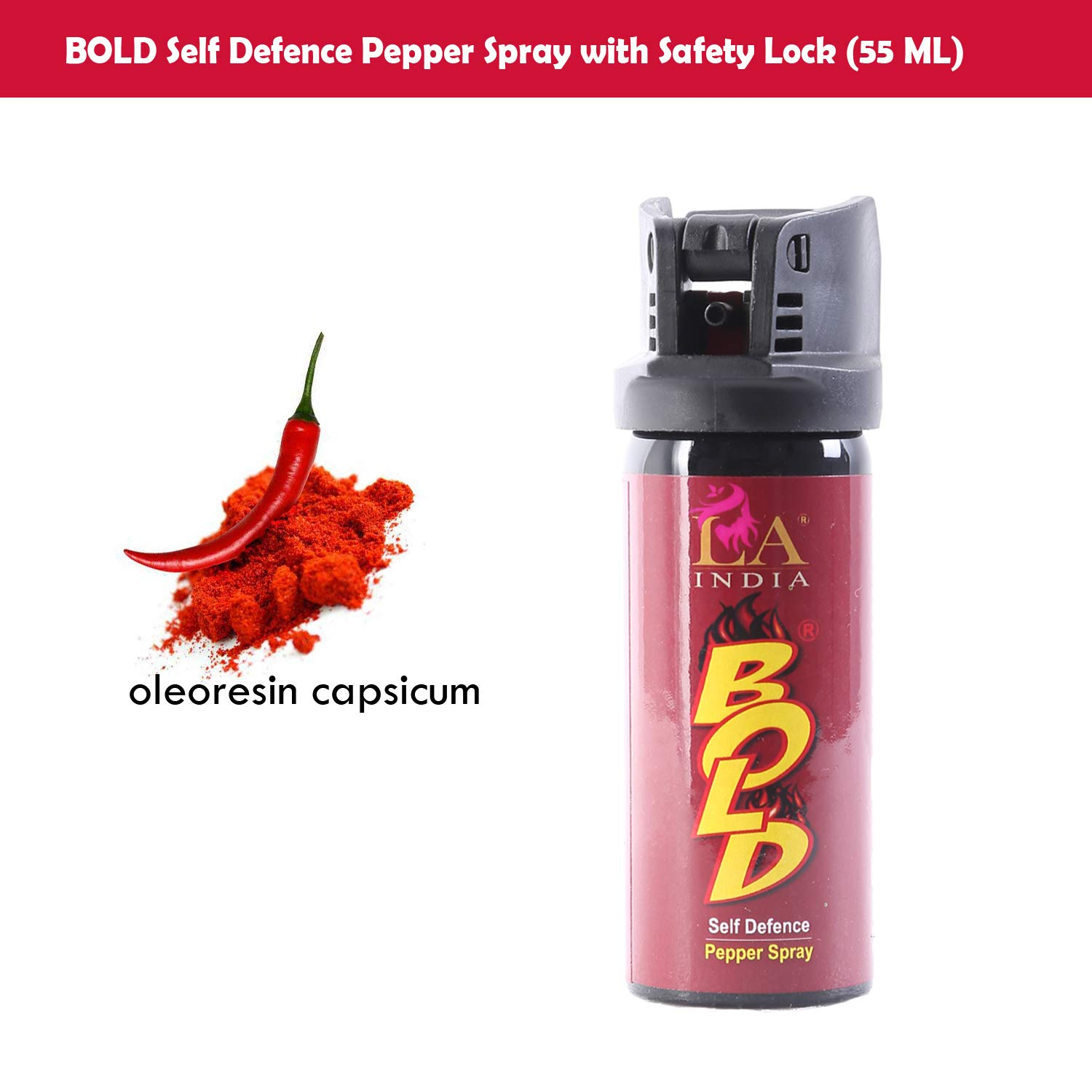 BOLD Self Defence Pepper Spray for Women Safety Lock (55 ML)