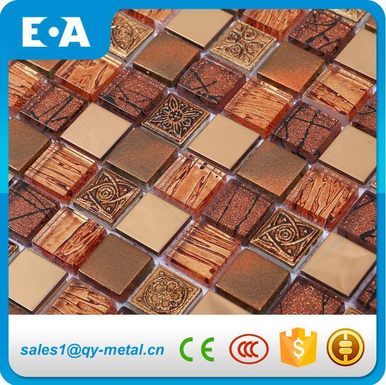 23x23mm Glass Stainless Steel Resin Mix Colorful Mosaic Best Selling Wall Tilesbest selling wall ti