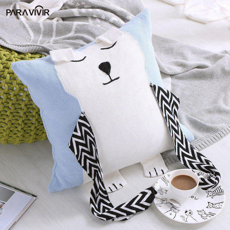 Cartoon Cushion Cover Bear Scarf Knitted Cotton Almofadas Home Sofa Decorative Pillows Case 4545cm
