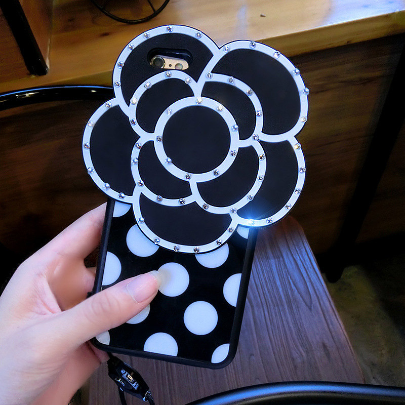 Special Offer Black Camellia Strap Back Case for iPhone 8/7/6splus with Rhinestone