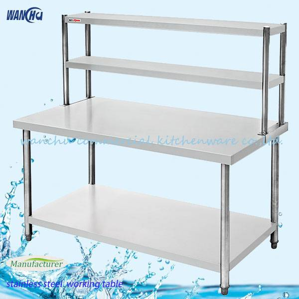 Double layer stainless steel worktable wih overshelf