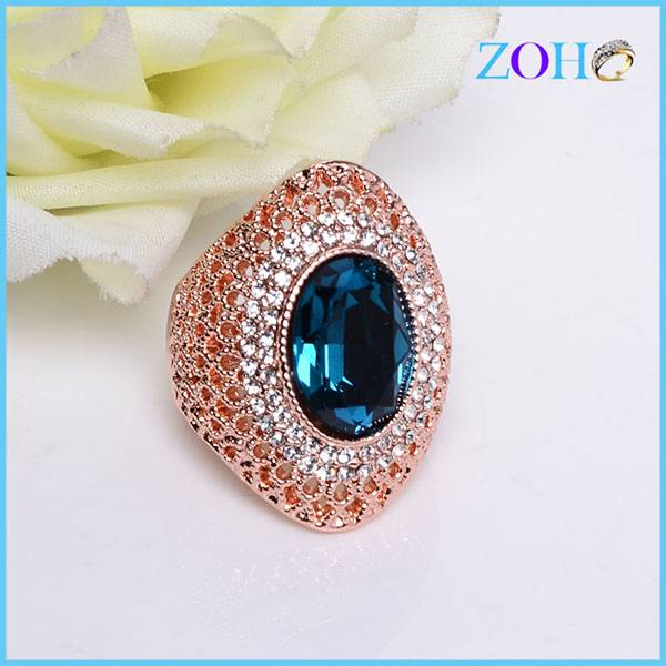 New arrival fancy blue crystal gemstone ring hollow unique design fantastic jewelry ring