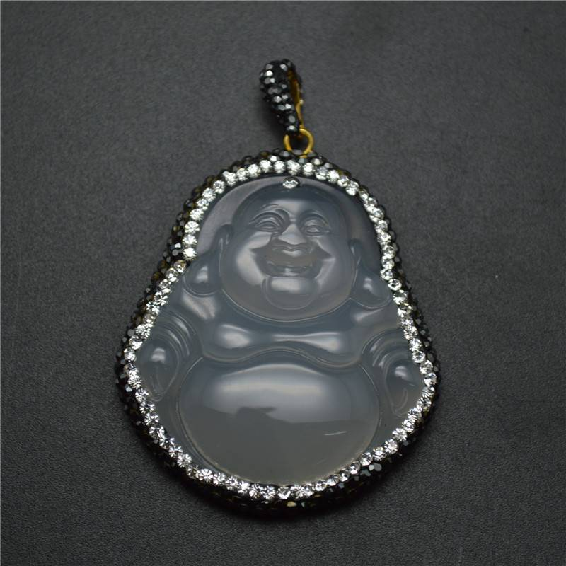 Natural Gray Agate Chalcedony Buddha Pendant