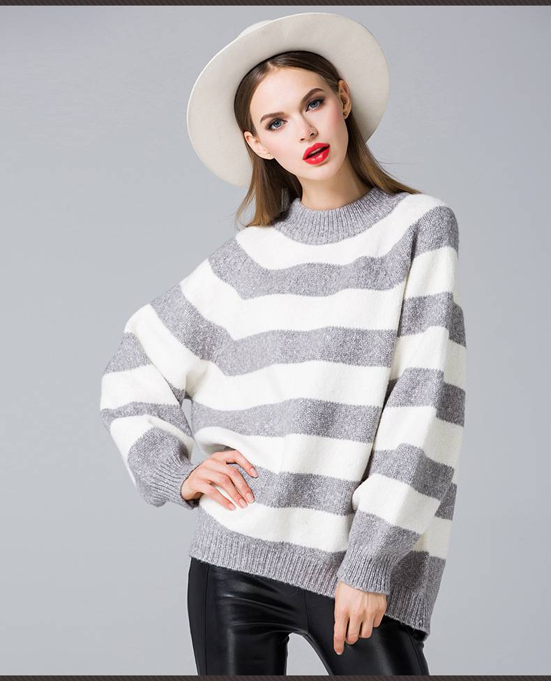 2015 europea and united states popular round collar loose pullover knitted sweater