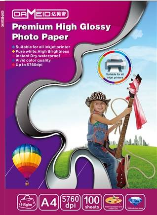 hot!! 115gsm High Glossy Inkjet Photo Paper, A4 size, water proof