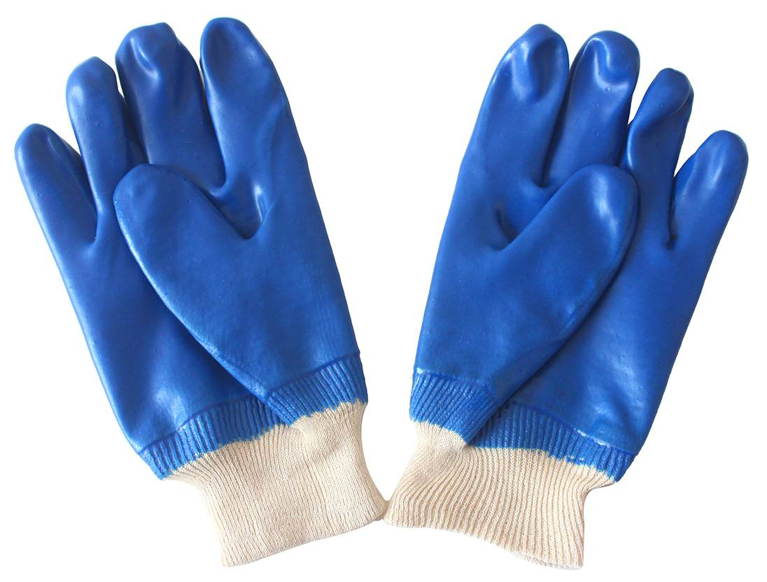 26cm blue kint wrist sandy finished PVC gloves