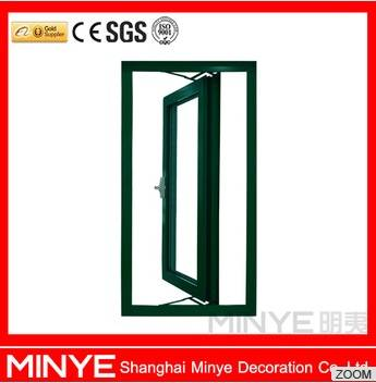 aluminum casement window wood finished profile with double glazed low-E glass and German brand hardw