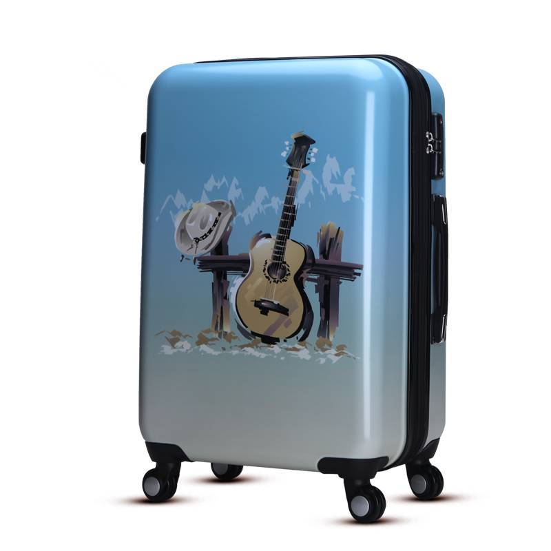 Lightweight polycarbonate luggage with printing guitar pattern