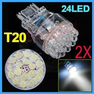 2X 3157 3057 T20 White Car 24 LED Tail Brake Turn Signal Light Bulb Lamp 12V New