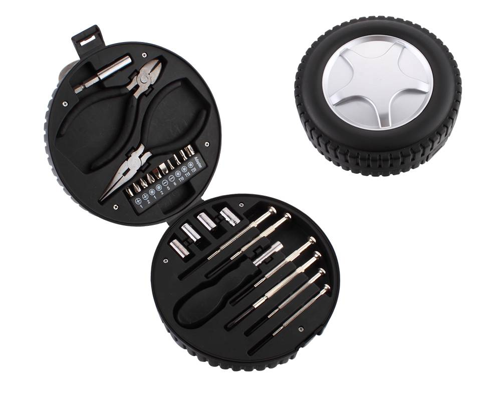 Factory Price 24 Piece General Purpose Tool Kit In Car Wheel Shape Case