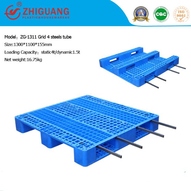 Heavy Duty Deck Rackable Rack Pallet Plastic Pallet (ZG-1311 4 steels)