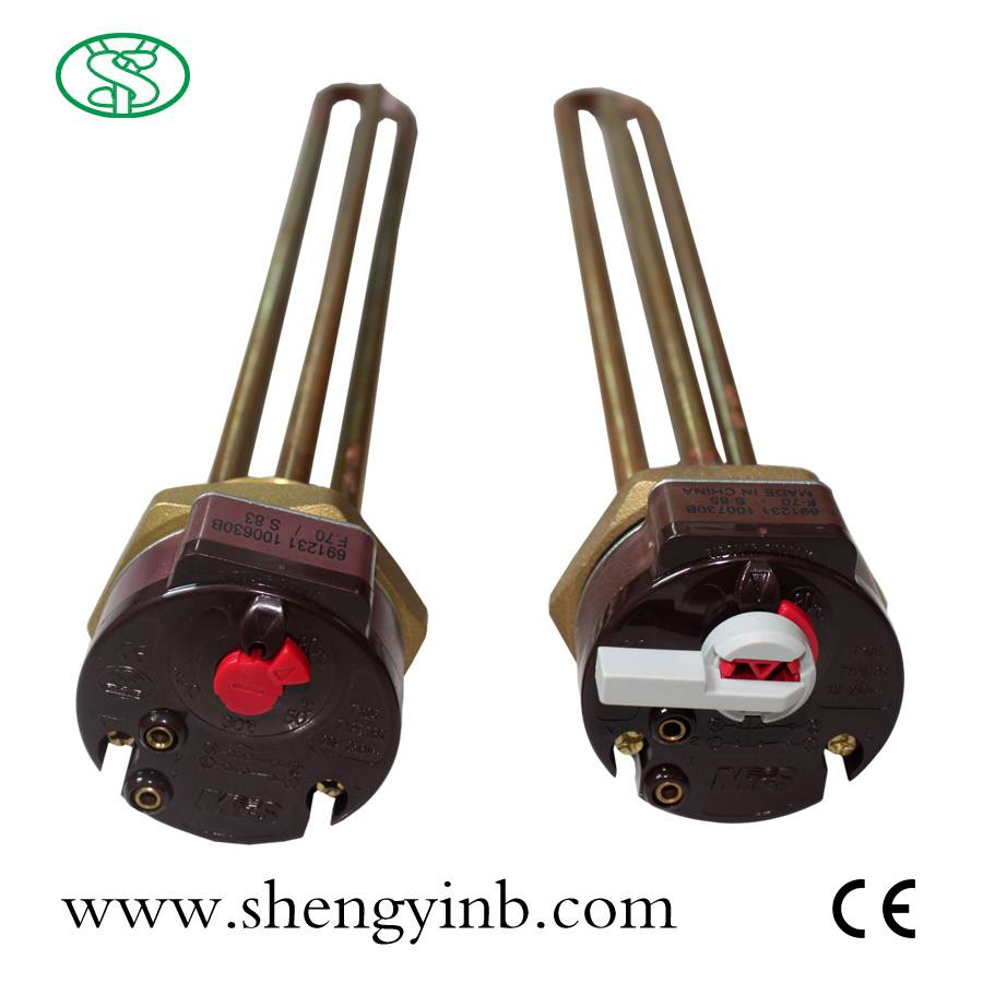 immersion double-safety electric heating element for solar water heater
