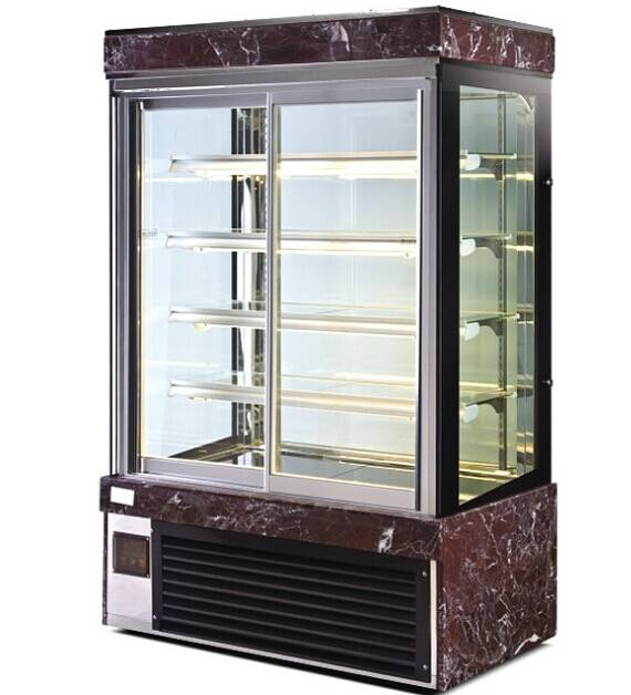 5 layers Square Cake Fridge/refrigerator with air/fan cooling;Four sides Glass display cabinets;Vert
