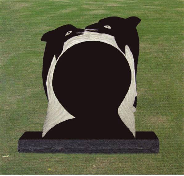 Dolphin carving headstone granite monument black tombstone