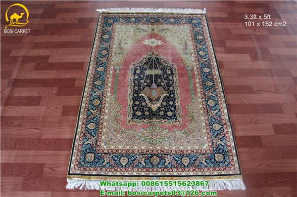 230lines 3.3x5ft persian carpet pure silk prayer rug chinese new design silk rugs