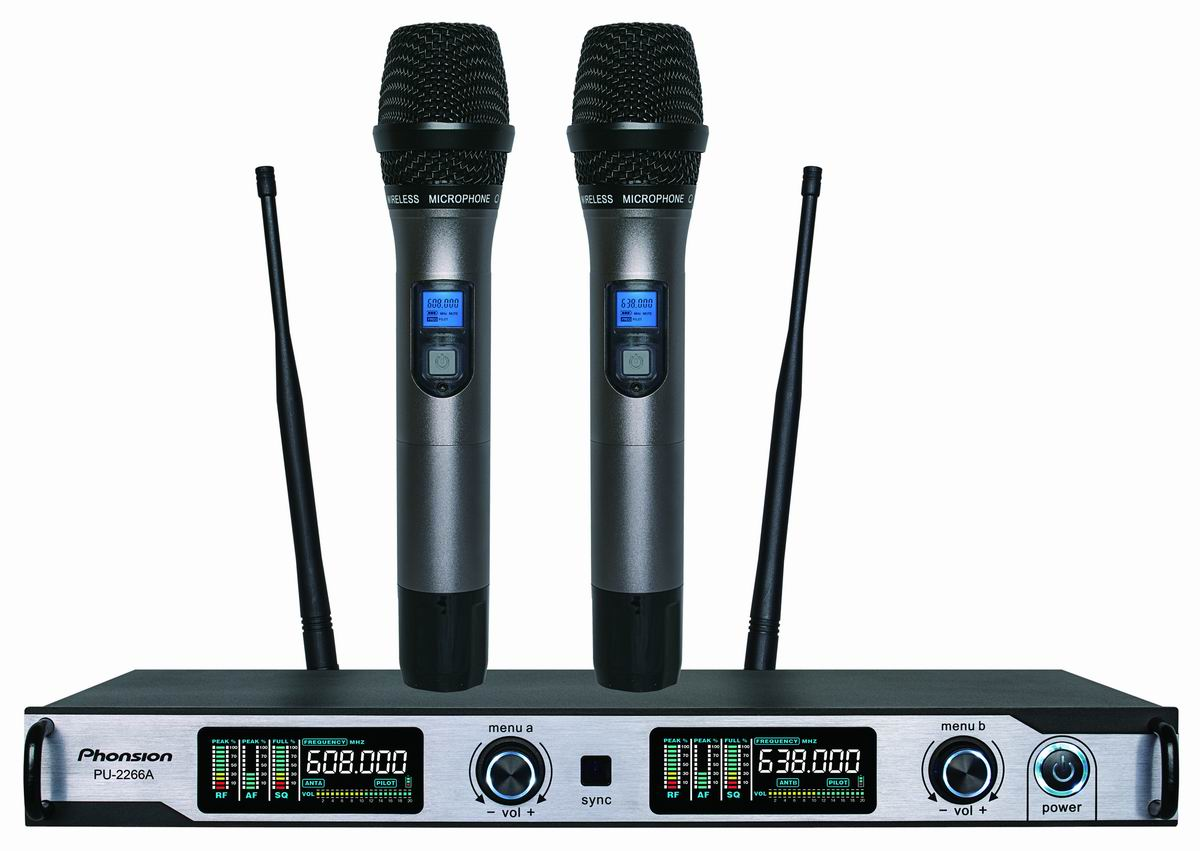 Antenna diversity UHF Wireless Microphone PU-2266A