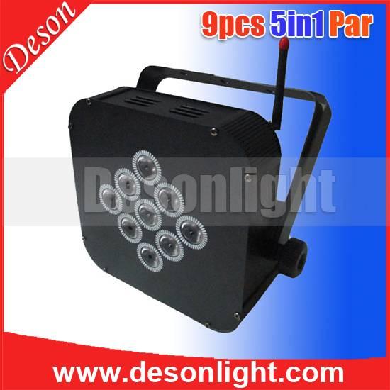 9x15w 5in1 LED Wireless DMX battery flat par LP-198
