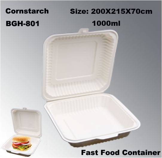 High Quality Biodegradable Disposable Cornstarch Fast food Box