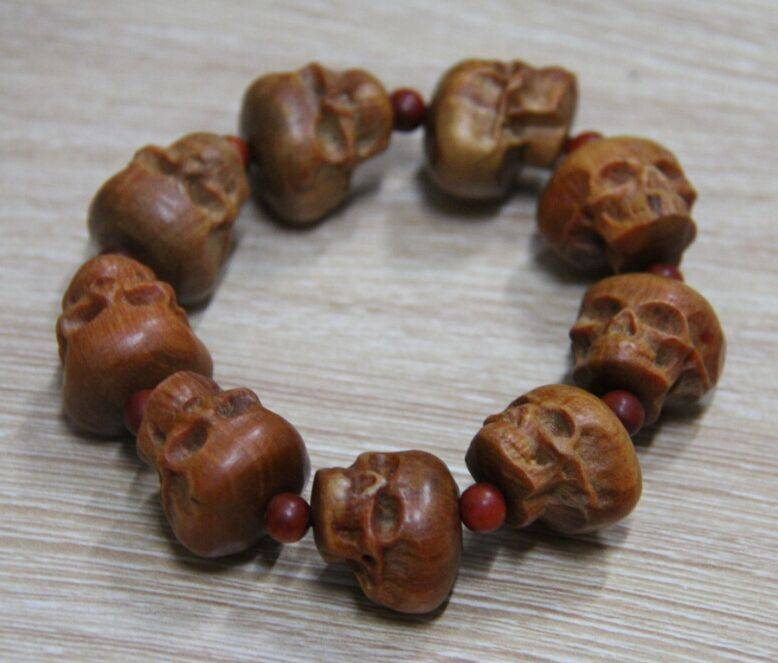 2015 New Style Skull Wood Bracelet Man Gender Hot Sale