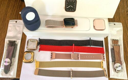 Apple Watch Series 5 Gold 44/40mm Aluminum GPS + LTE Cellular Pink Nylon Loop +14704086638