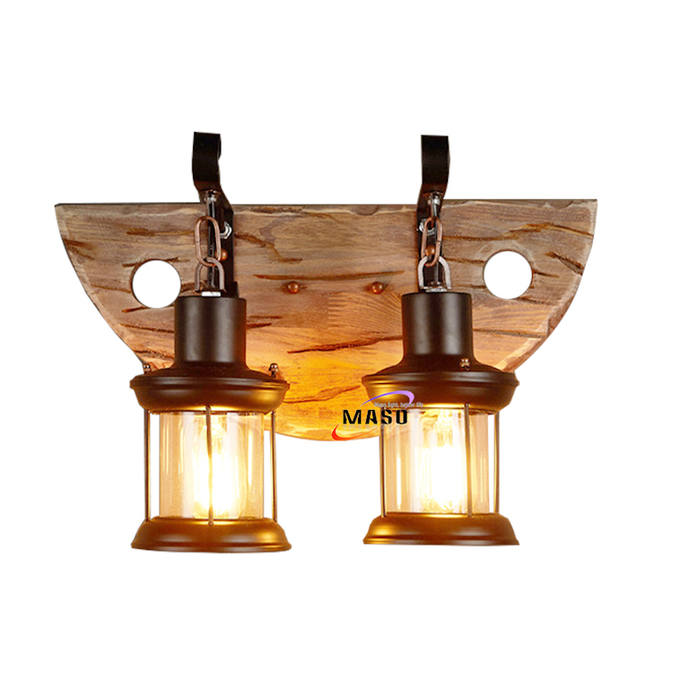 Indoor LED lighting dual vintage wooden wall lamp wood decor