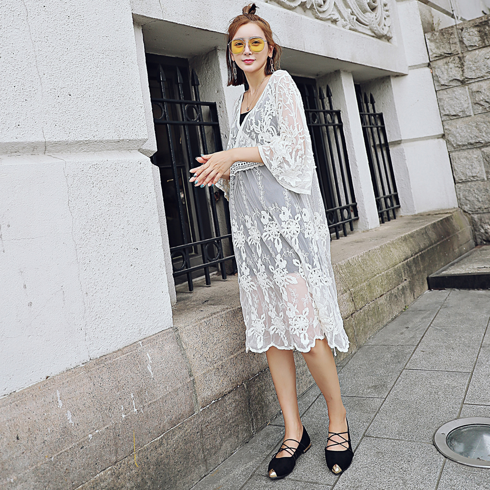 Lace perspective hollow dress long lace embroidery dress ordinary lace hollow skirt