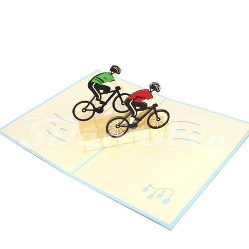 Cyclist-sport card-3d card-pop up card-birthday card-greeting card-greeting card-paper cutting