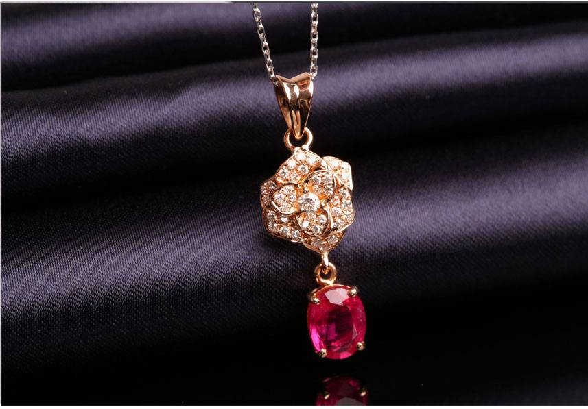 Ruby Pendant 18K Gold Setting Diamond Pendant Fashion Charm