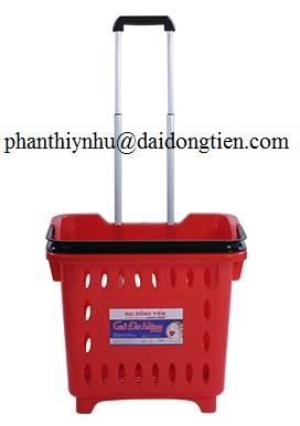 plastic shopping rolling  basket