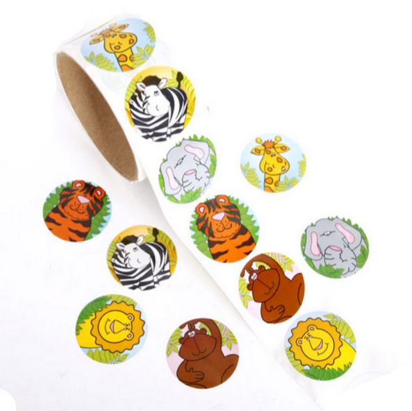 Animal Fun Roll Stickers 100pcs