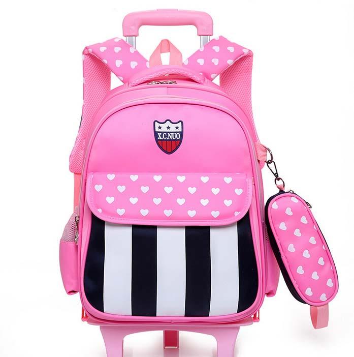 Trolley School Bag, Wheeled Trolley Backpack, Kids' Bookbag with Wheels