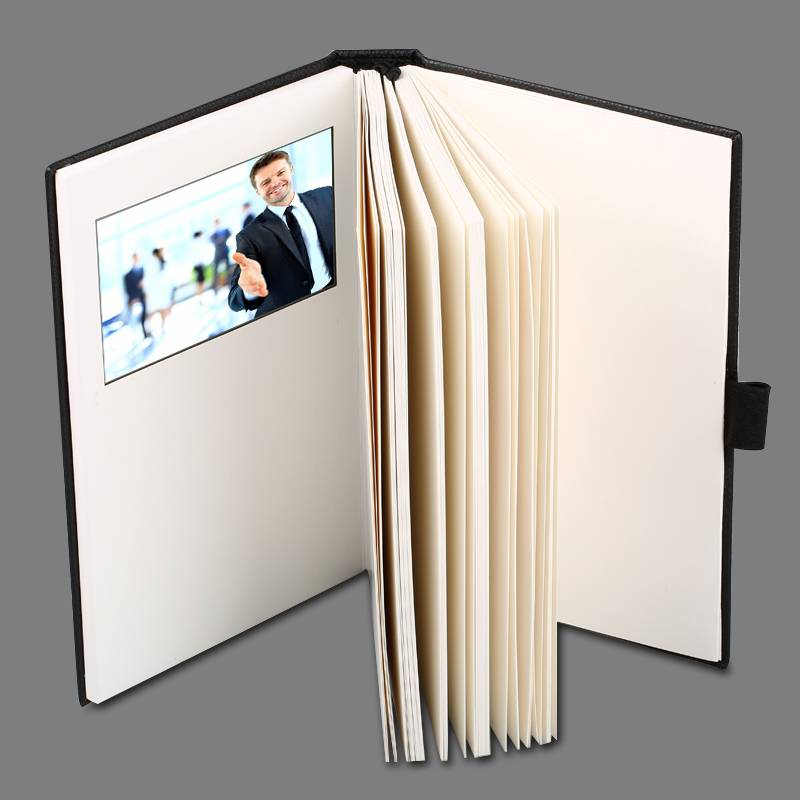 "newest product 4.3"" PU leather notbook with lcd ,video brochure ,video book"