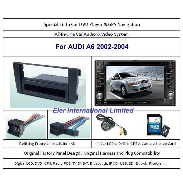 AUDI A6 2002-2004 Car DVD Player / GPS Navi / Original Factory  Panel / Rear Camera / Map Card