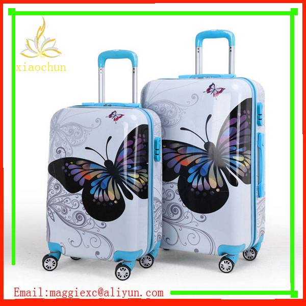 3piece abs pc butterfly luggage trolley sets factory price