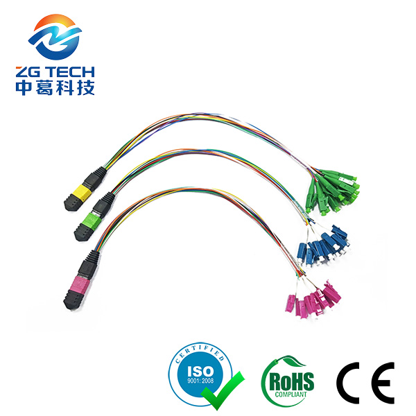 Large Data Center 10Gbs OM4 Multimode or OS2 Single Mode 12/24Fiber Male MTP MPO Harness patch cord