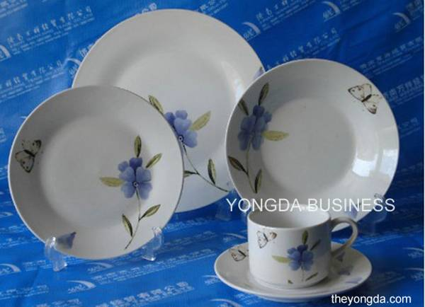 18 pieces white porcelain dinner set / dinnerware / tableware / round and square