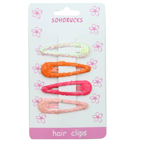 Glitter Bling Snap Hair Clips Assorted Colors 1281