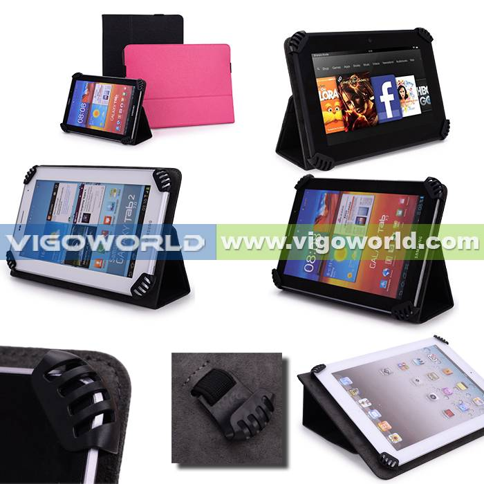 Vigoworld Standing Leather Case For Samsung Galaxy Note 10.1 Black (With Four Patent Corner Claws)