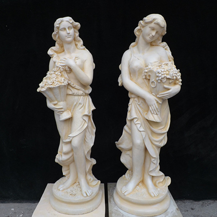 Classic Colored Garden Statue Marble Four Season Lady Sculpture with Grapes