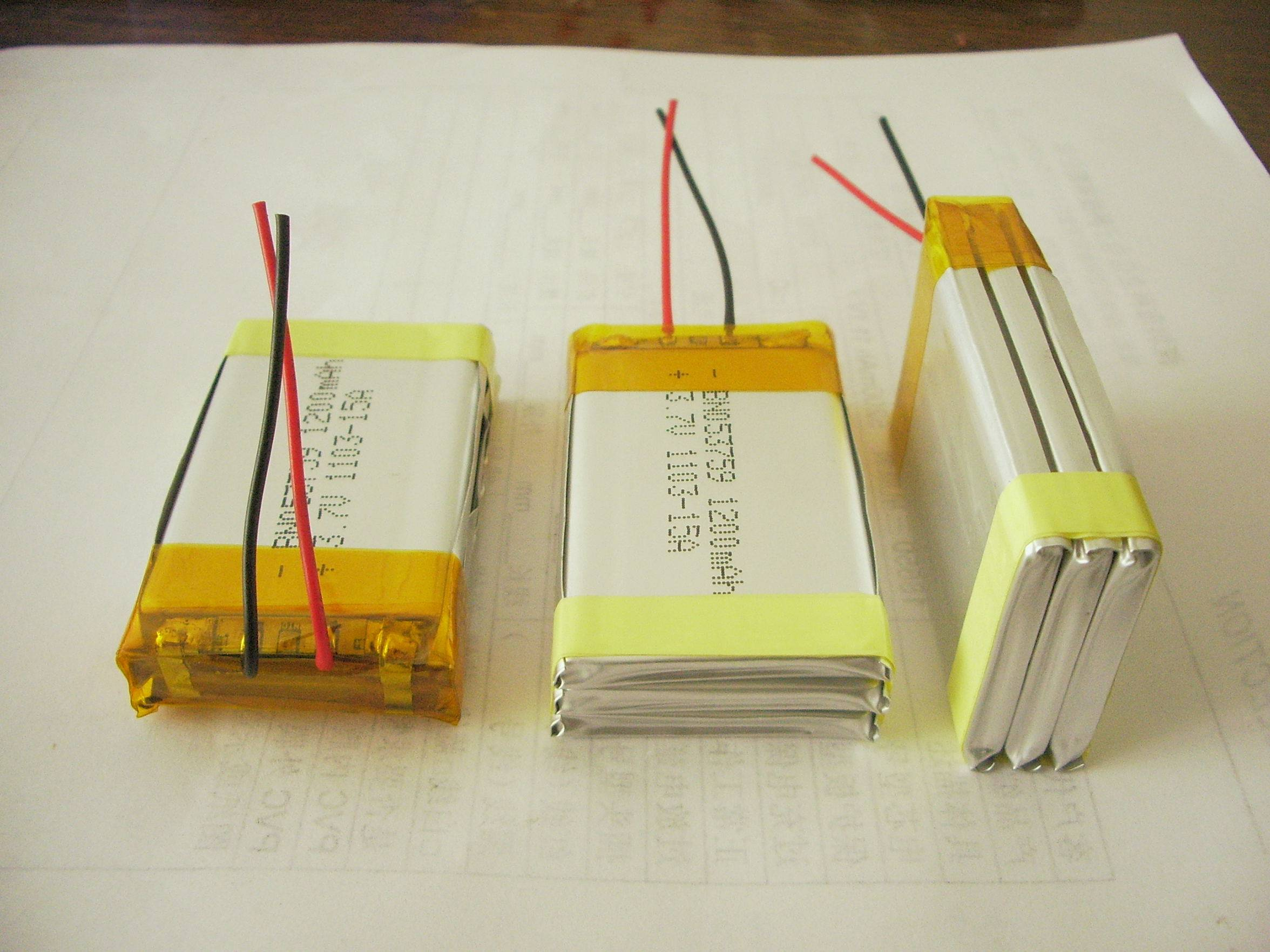Rechargeable Li-Polymer 503759 3.7V 3600mAh battery pack with PCB and Leading Wires